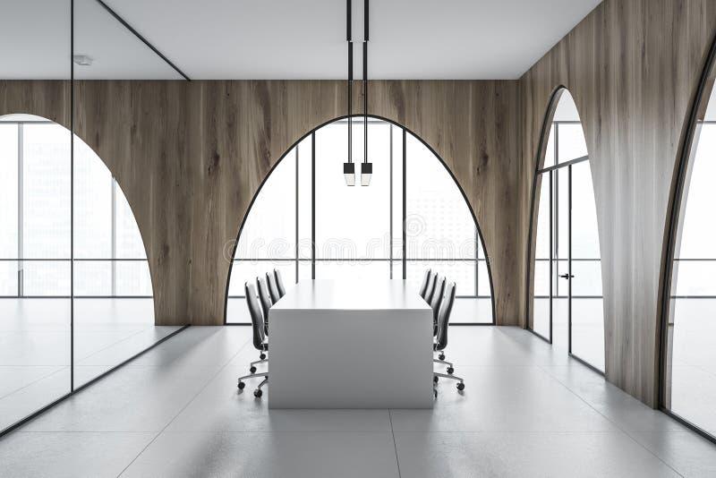 Łukowaty nadokienny pokoju konferencyjnego wnętrze, bielu stół ilustracji