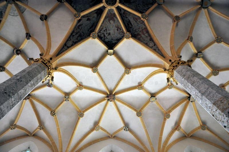 Łukowaty sufit średniowieczny kościół, Slovenia zdjęcie stock