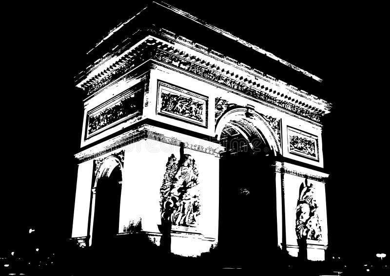 łuku łękowaty de France Paris triomphe triumf ilustracji