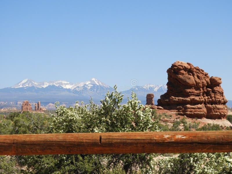 Łuku parka narodowego usa Utah Moab góra z śniegiem zdjęcie stock