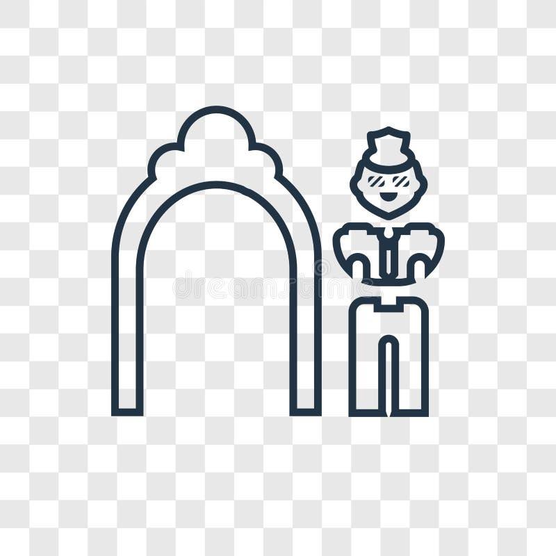 Łuku pojęcia wektorowa liniowa ikona odizolowywająca na przejrzystym backgroun royalty ilustracja