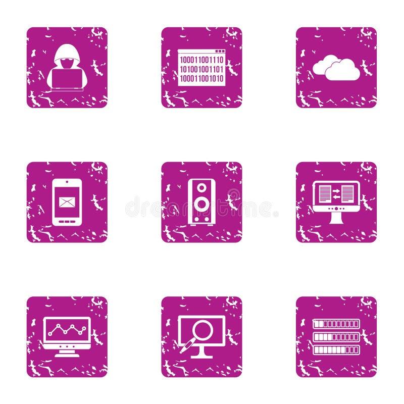 Łupanie ikony ustawiać, grunge styl ilustracji