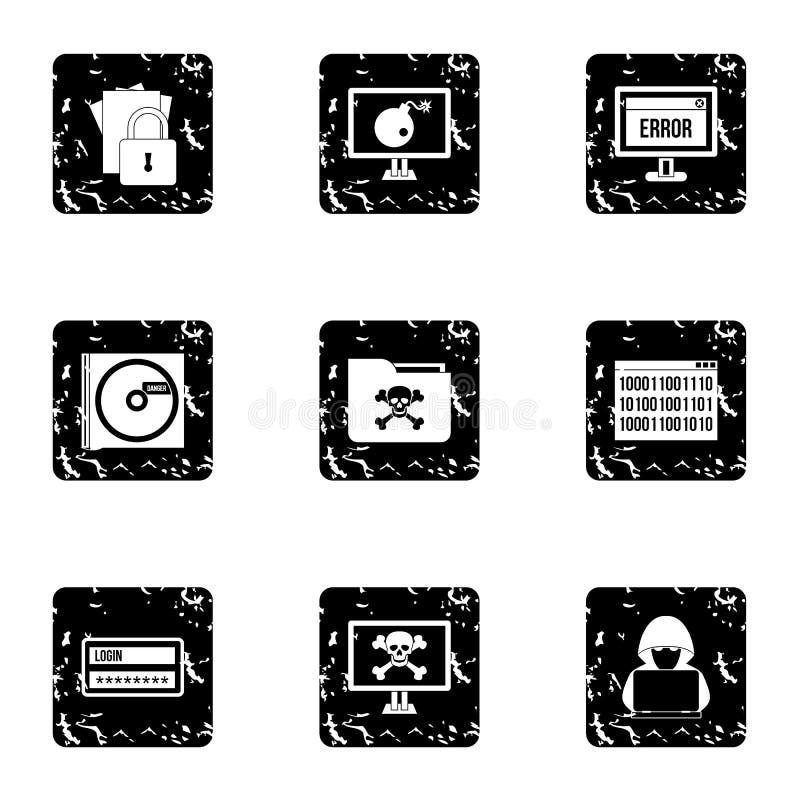 Łupanie ikony ustawiać, grunge styl royalty ilustracja