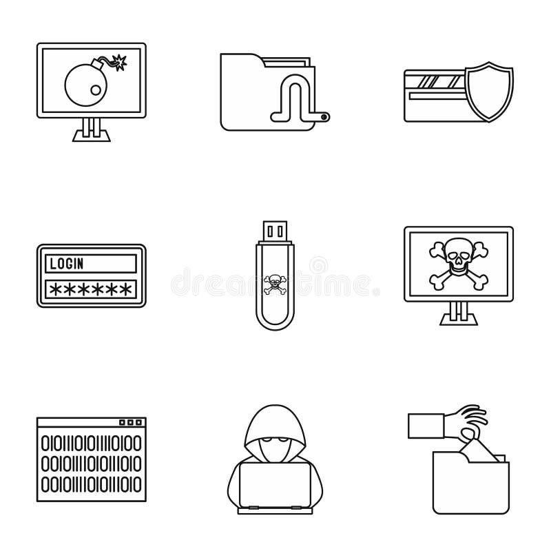 Łupanie ikony ustawiać, konturu styl ilustracja wektor