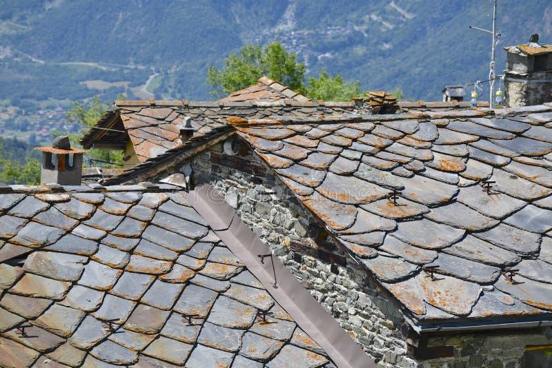 Łupkowi dachy zdjęcie royalty free