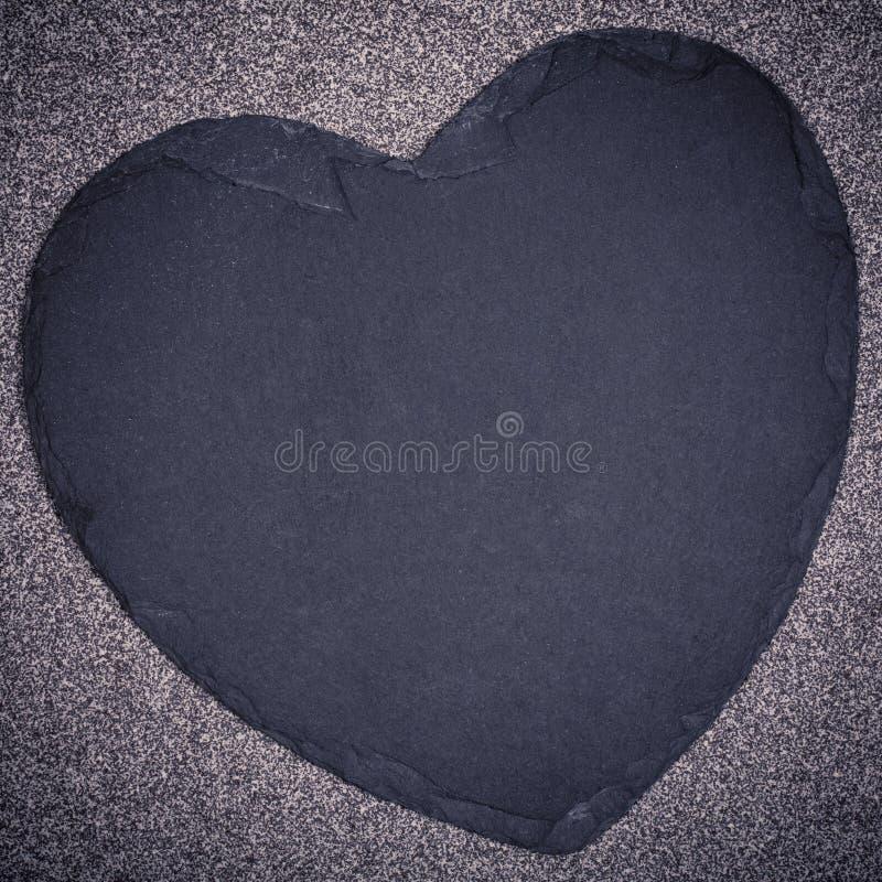 Łupkowy serce fotografia stock