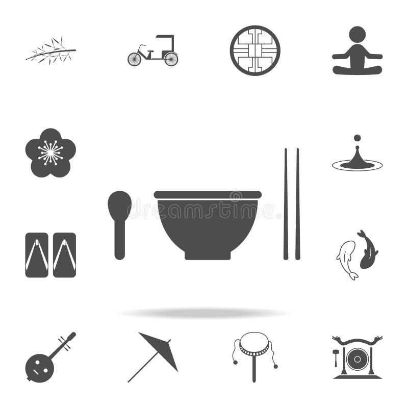 Łyżka, filiżanka, wtyka ikonę Set Chińskie kultur ikony Sieci ikon premii ilości graficzny projekt Znaki i symbol kolekcja, sim royalty ilustracja