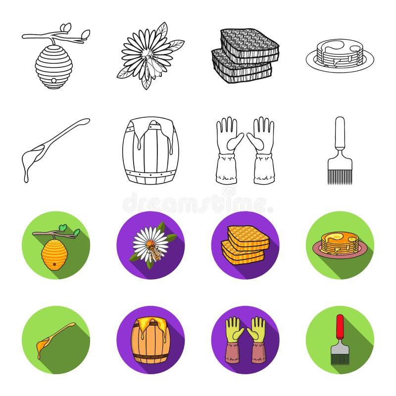Łyżka miód, ochronne rękawiczki, baryłka miód, rozwidlenie Pasiek ustalone inkasowe ikony w konturze, fleta stylowy wektor ilustracji