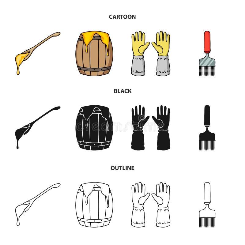 Łyżka miód, ochronne rękawiczki, baryłka miód, rozwidlenie Pasiek ustalone inkasowe ikony w kreskówce, czerń, kontur ilustracji