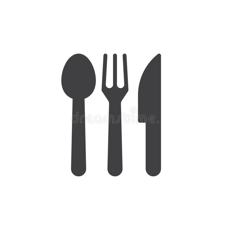 Łyżka, rozwidlenie, nóż Cutlery ikony wektor, ilustracji