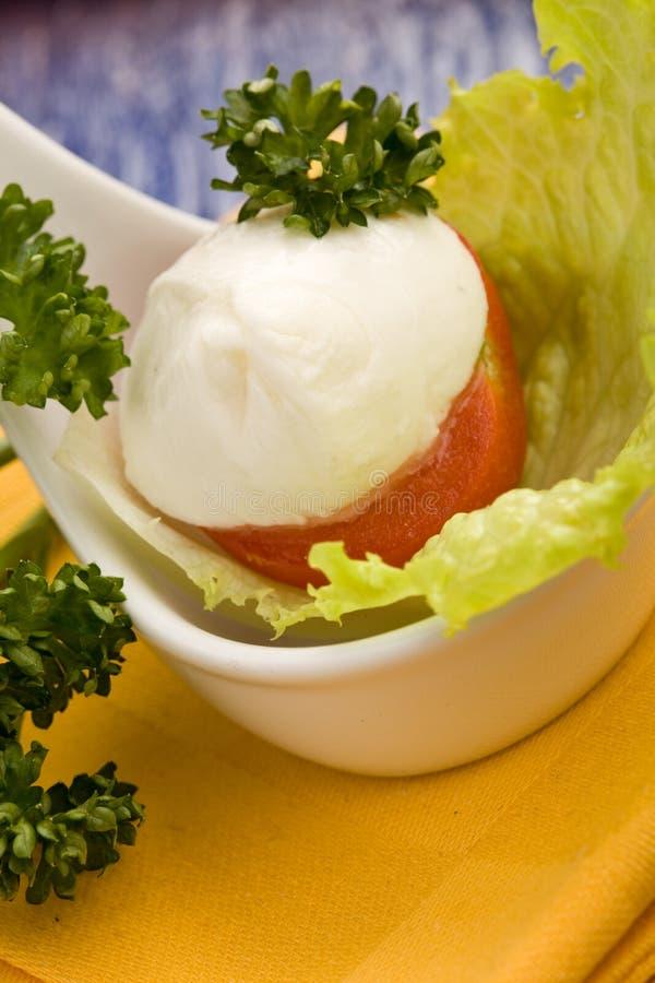 łyżkowy mozzarelli tomatoe zdjęcia stock