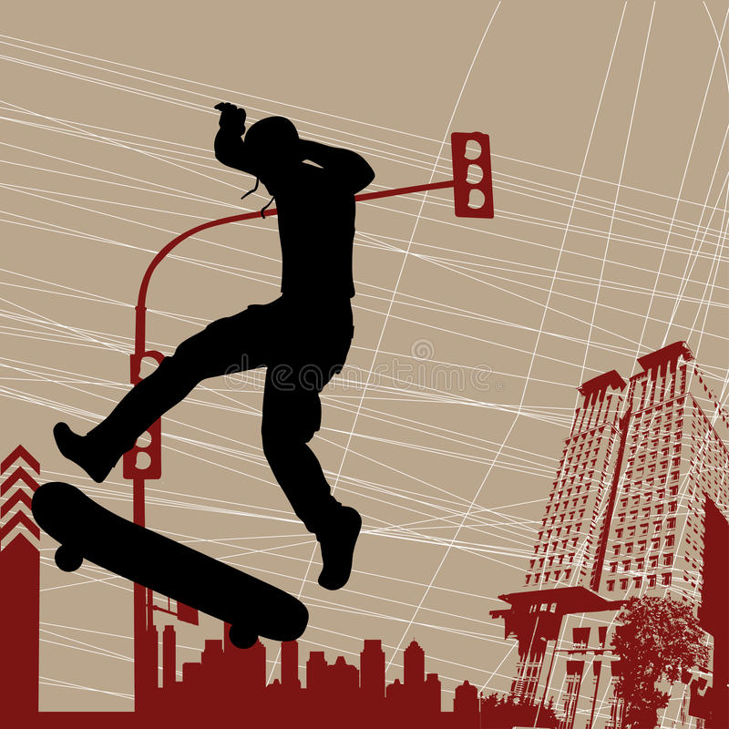 łyżwiarka miastowa ilustracja wektor