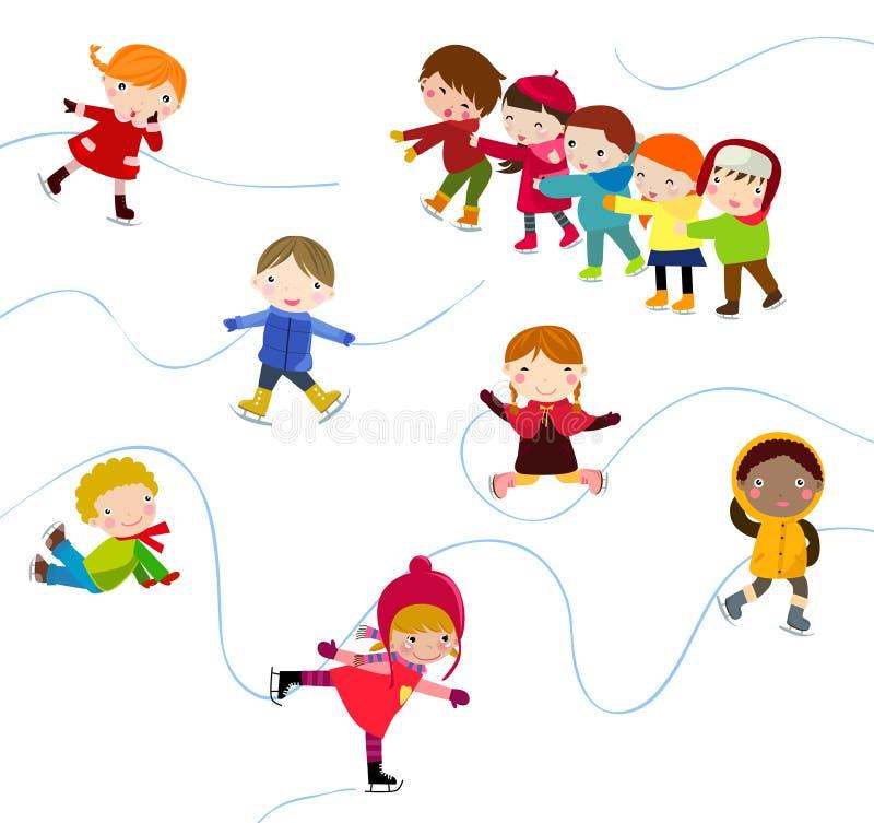 Łyżwiarscy dzieci ilustracji