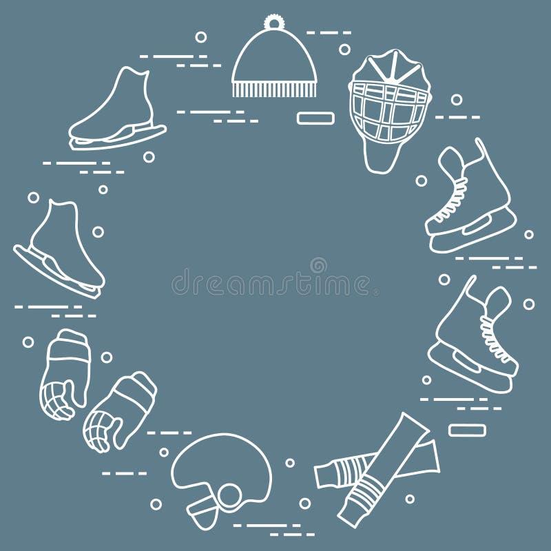 Łyżwiarstwa figurowe i hokeja elementy ilustracji
