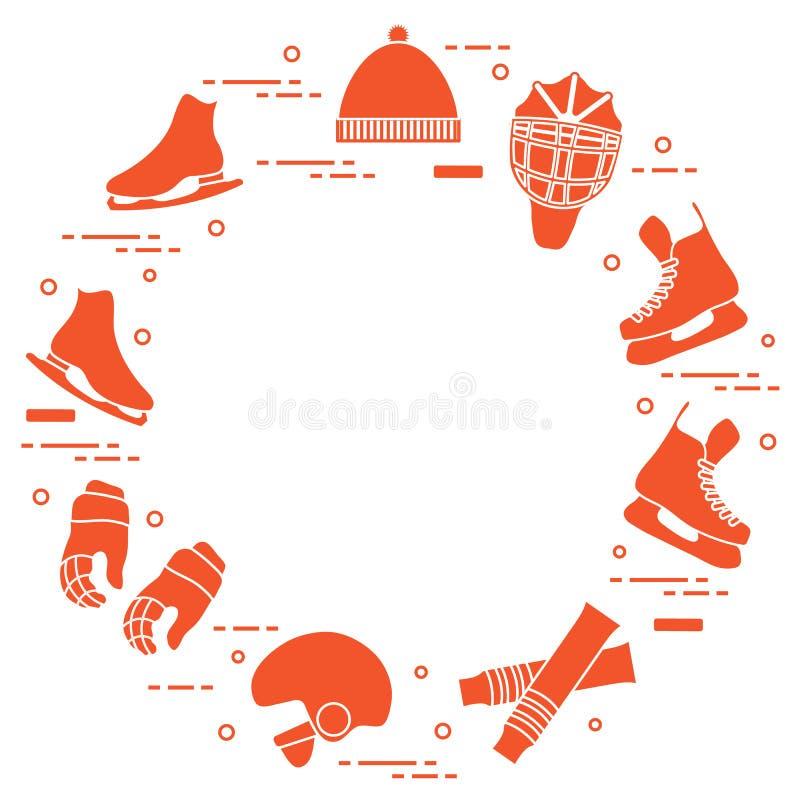 Łyżwiarstwa figurowe i hokeja elementy ilustracja wektor