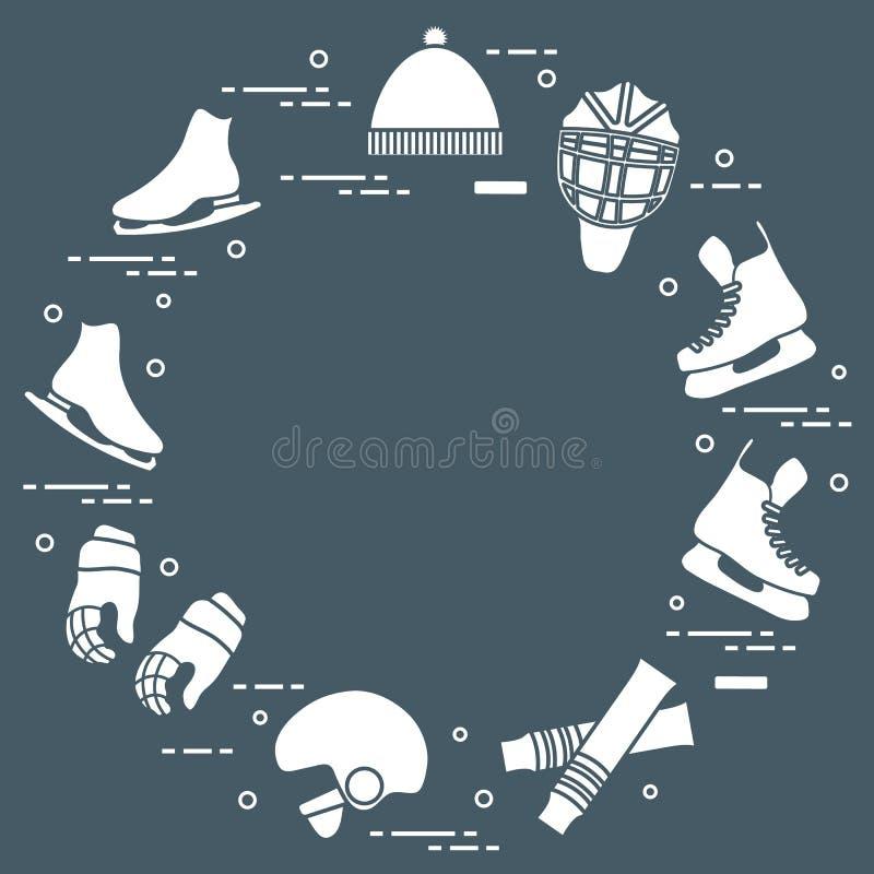 Łyżwiarstwa figurowe i hokeja elementy royalty ilustracja