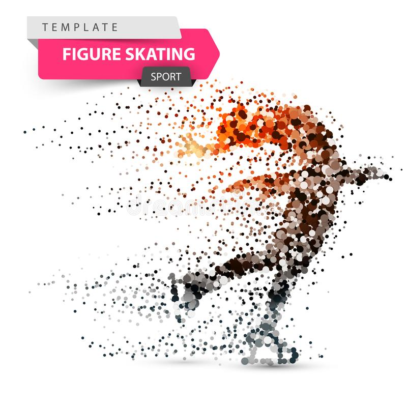 Łyżwiarstwo figurowe - kropki ilustracja Sporta szablon ilustracji