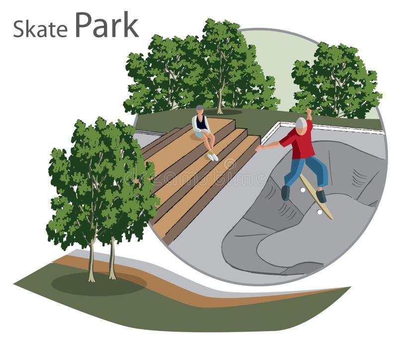 Łyżwowy Parkowy nakreślenie ilustracja wektor