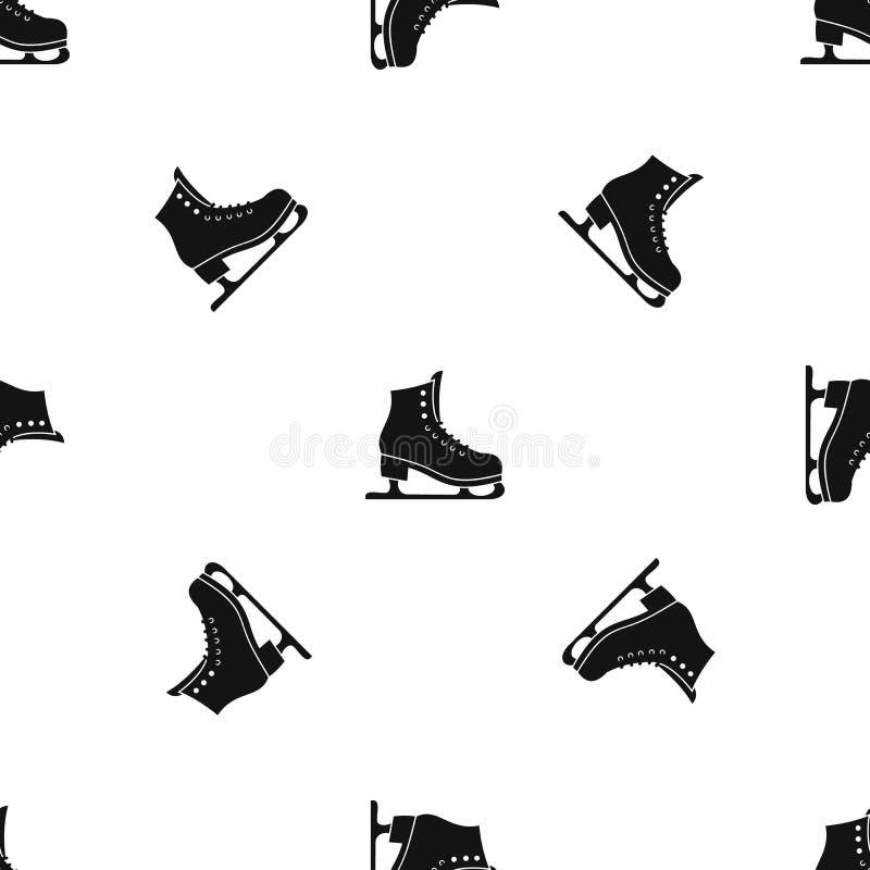 Łyżwy deseniują bezszwowego czerń ilustracji