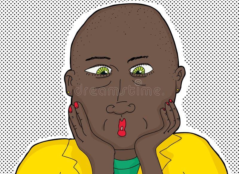 Łysa murzynka z Zielonymi oczami royalty ilustracja