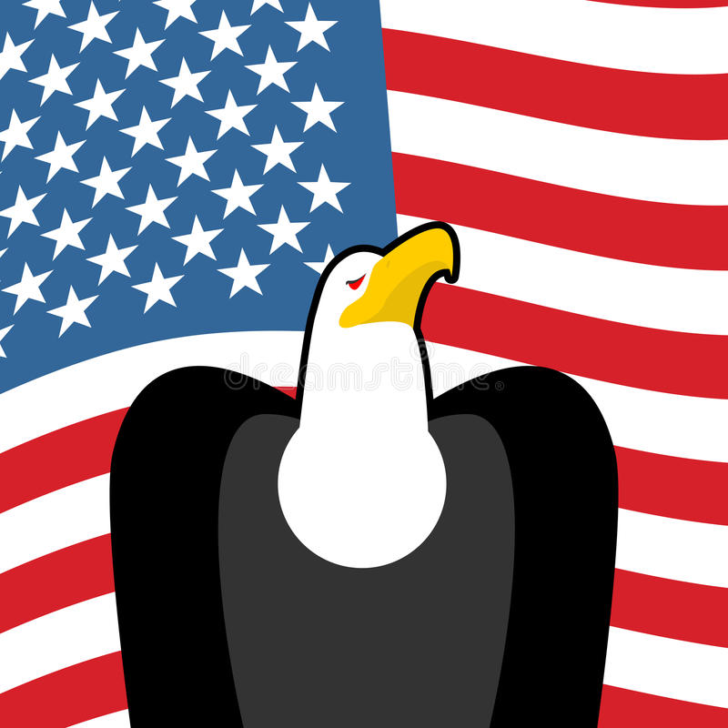 Łysego Eagle usa krajowi symbole Wielcy ptaki zdobycz i flaga ilustracja wektor