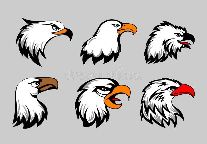Łysego orła maskotka przewodzi wektorową ilustrację Amerykański orzeł głowy set dla loga i etykietek royalty ilustracja