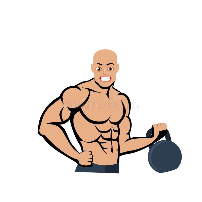 Łysy bodybuilder z ciężarem, kreskówka na białym tle royalty ilustracja