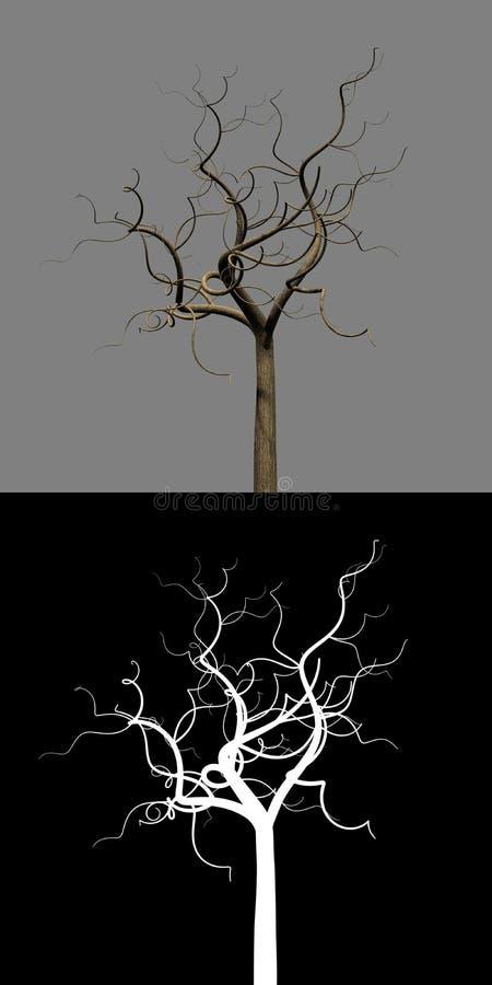 łysy gałęziasty nieboszczyk odizolowywający zamaskowany drzewo royalty ilustracja