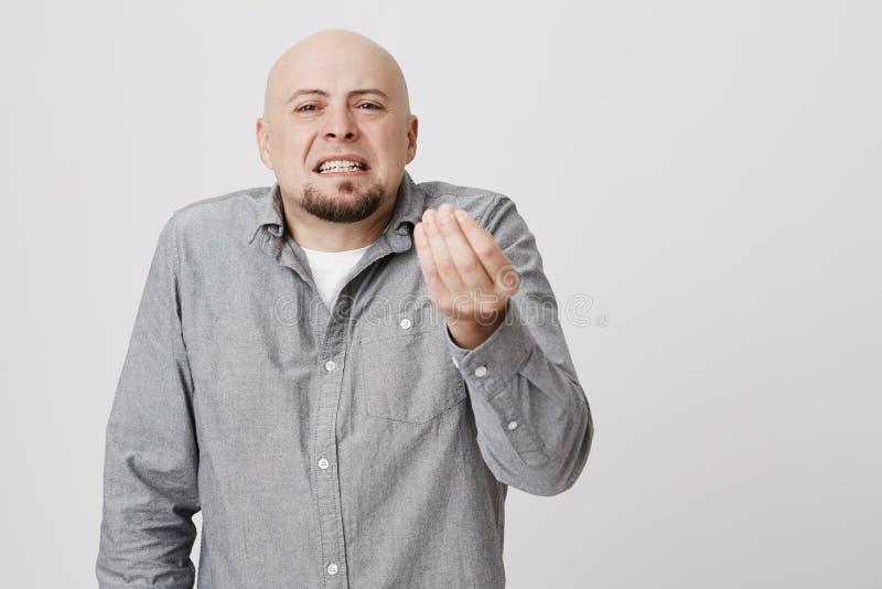 Łysy przystojny brodaty mężczyzna patrzeje gniewny pokazywać włoskiego gest nad białym tłem Intymny biznesmen dokucza fotografia royalty free