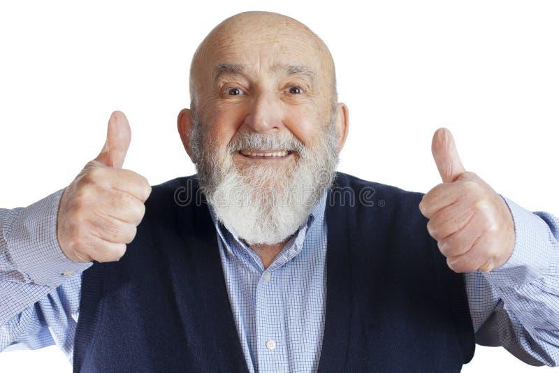 łysy starszy mężczyzna z aprobatami obrazy stock