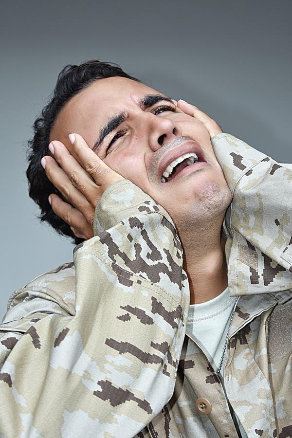 Łzawy Męski żołnierz obraz stock
