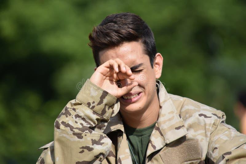 Łzawy Przystojny Męski żołnierz zdjęcie royalty free