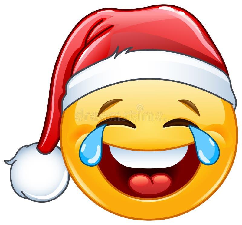 Łzy radości emoticon z Santa kapeluszem ilustracja wektor