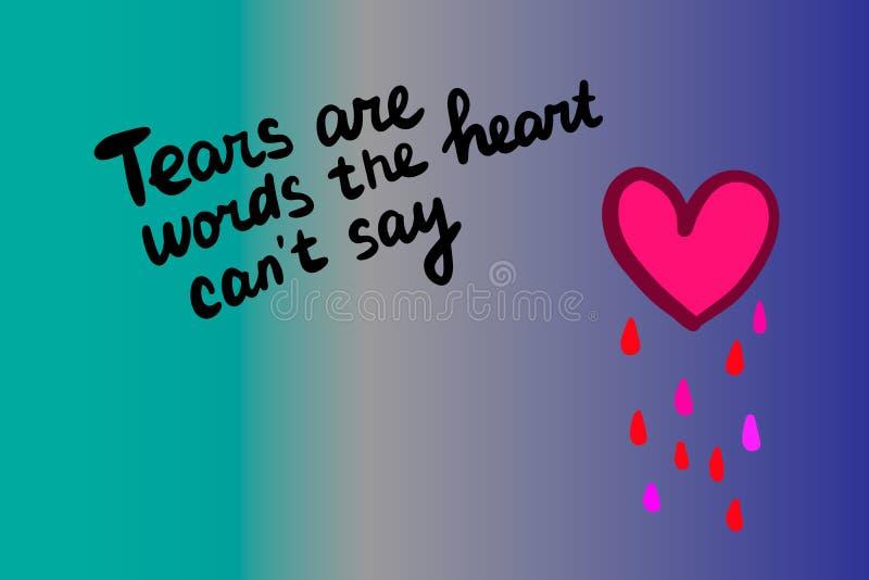 Łzy są słowami serce no może mówić ręka rysującą wektorową ilustrację w kreskówka stylu ilustracji
