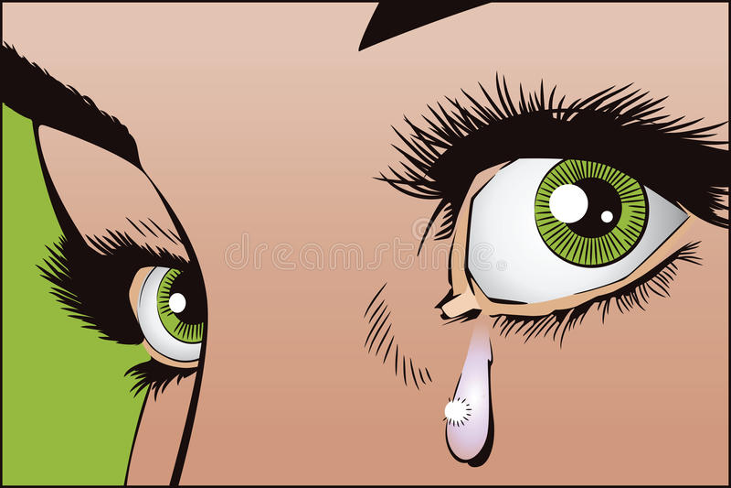 Łzy w oczach dziewczyny ilustracji