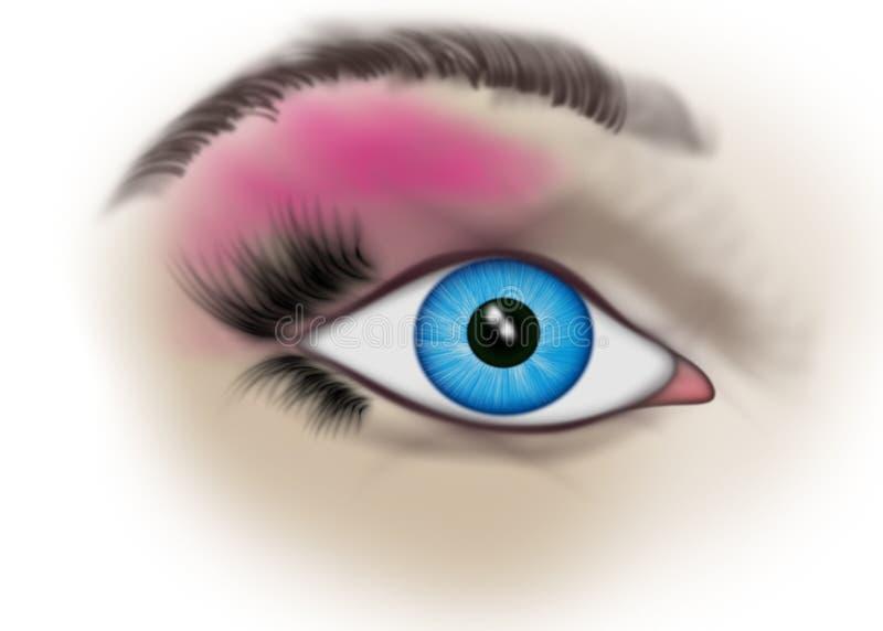 œil bleu de femme illustration de vecteur
