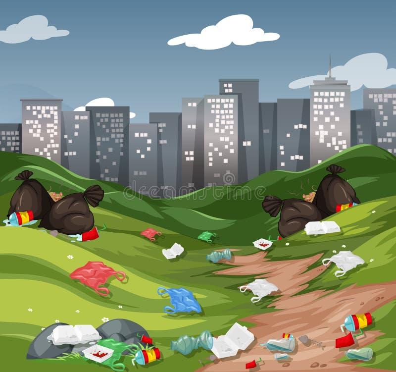 Ściółka w miastowym parku ilustracja wektor