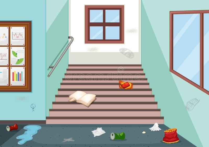 Ściółka w szkolnym korytarzu ilustracji