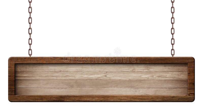 Ściągła drewniana deska robić ciemny drewno i z zmrok ramy obwieszeniem na łańcuchach obrazy royalty free