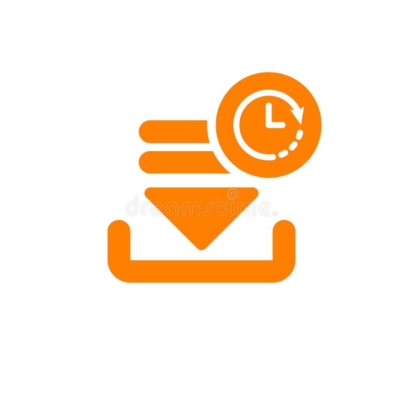 Ściąga ikonę, strzała ikona z zegaru znakiem Ściąga ikonę i odliczanie, ostateczny termin, rozkład, planistyczny symbol ilustracja wektor