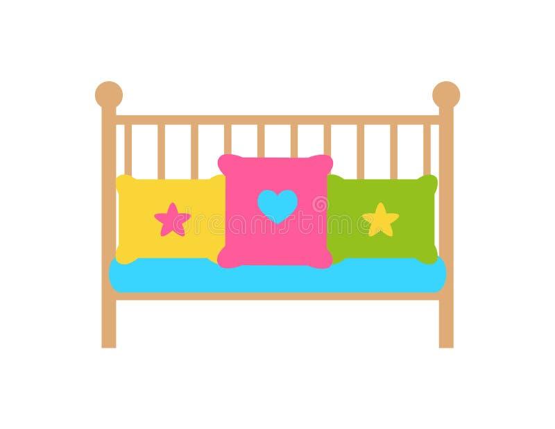 Ściąga młodego dziecka łóżko z Zakazywać lub Latticed stronami ilustracji