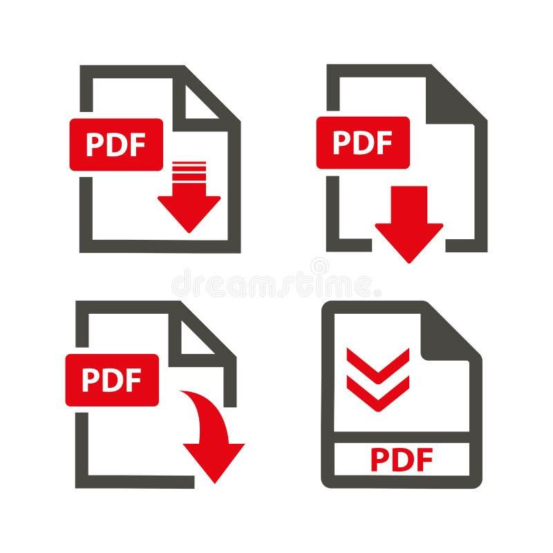 Ściągania pdf ikony na białym tle royalty ilustracja