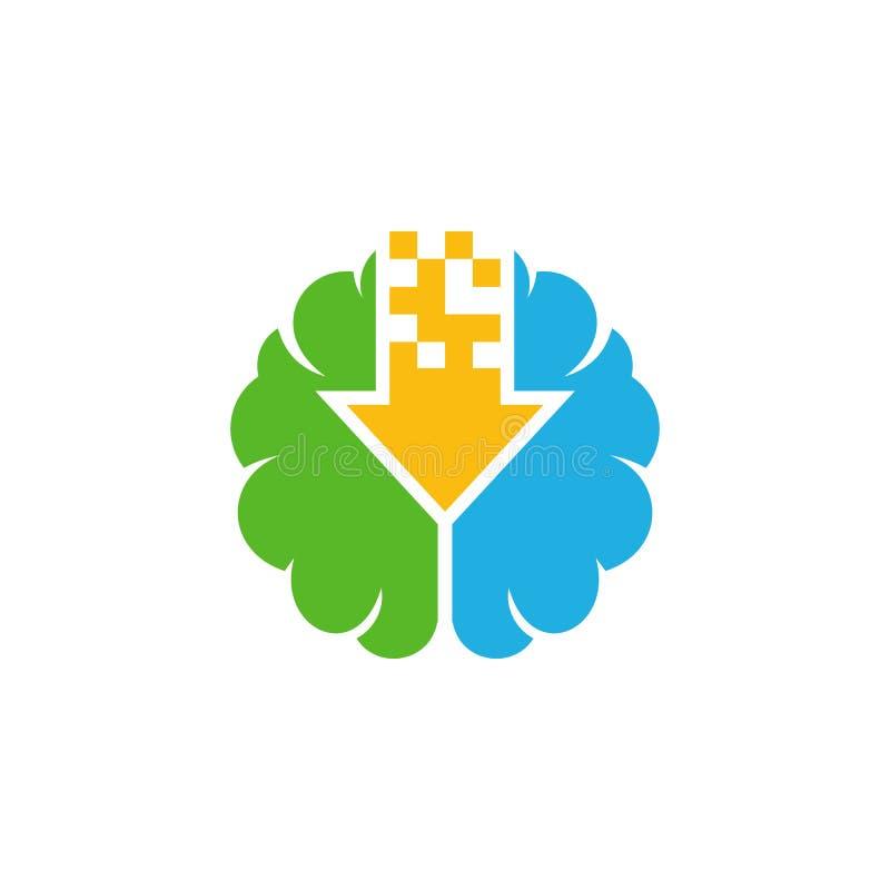 Ściąganie loga ikony Móżdżkowy projekt royalty ilustracja