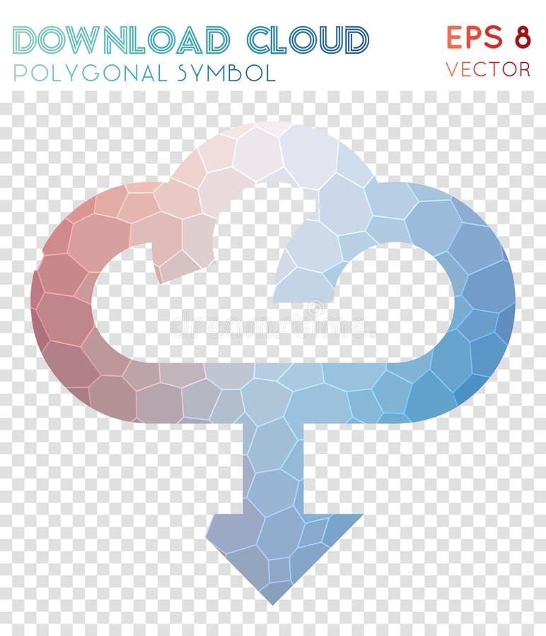 Ściąganie obłoczny poligonalny symbol ilustracja wektor