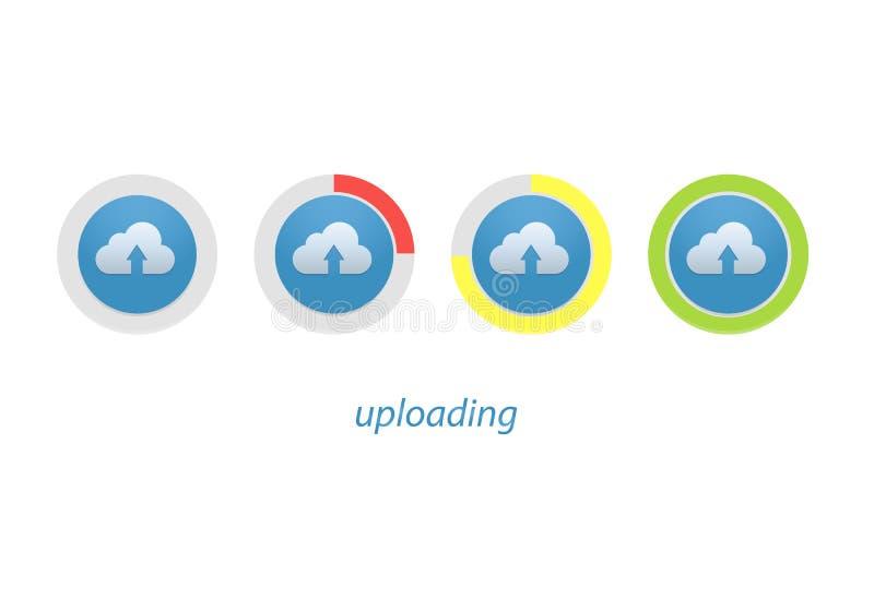 Ściąganie postępu wskaźnika set Upload znak i ikona royalty ilustracja