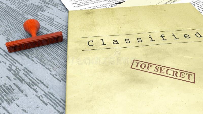 Ściśle tajny dokument, znaczek, deklasyfikujący, poufna informacja, tajny tekst Społeczeństwo informacja royalty ilustracja