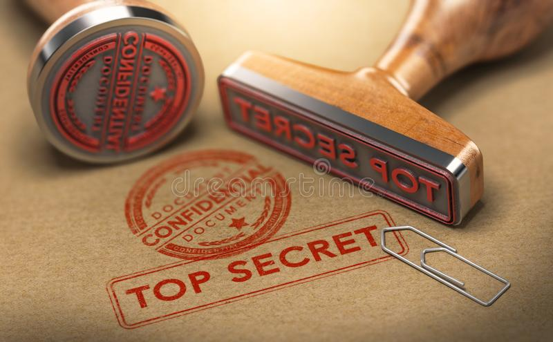 Ściśle Tajny dokumenty, poufne informacje royalty ilustracja