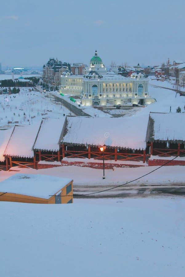 Ściana antyczny Kremlin i pałac rolnicy kazan Russia fotografia royalty free