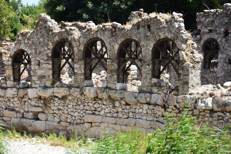 Ściana antyczny miasto Olympos ruiny indyk fotografia stock