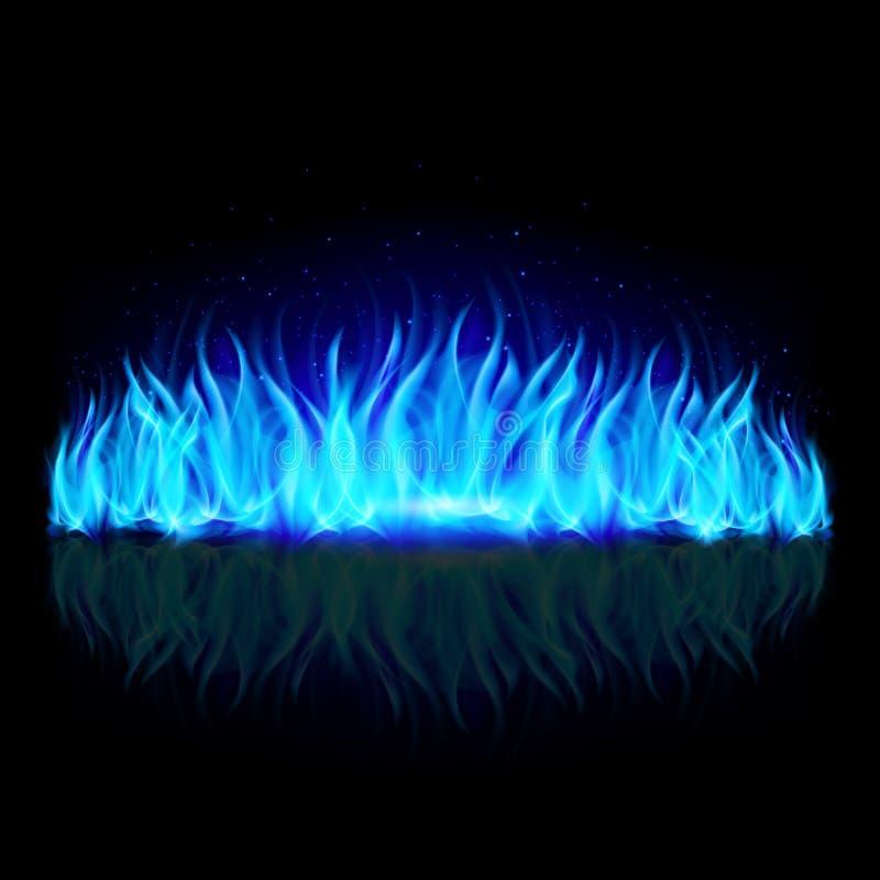 Ściana błękita ogień na czerni. ilustracji